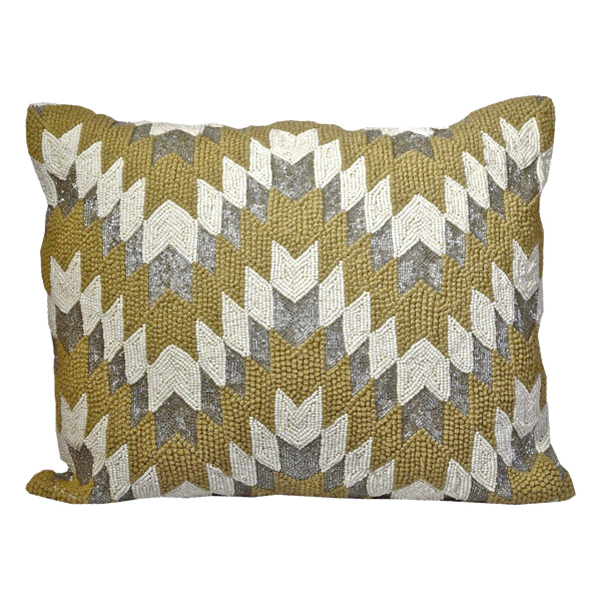 Heavy Beading In A Wave Of Diagonal Lumbar Pillow By Debage Inc
