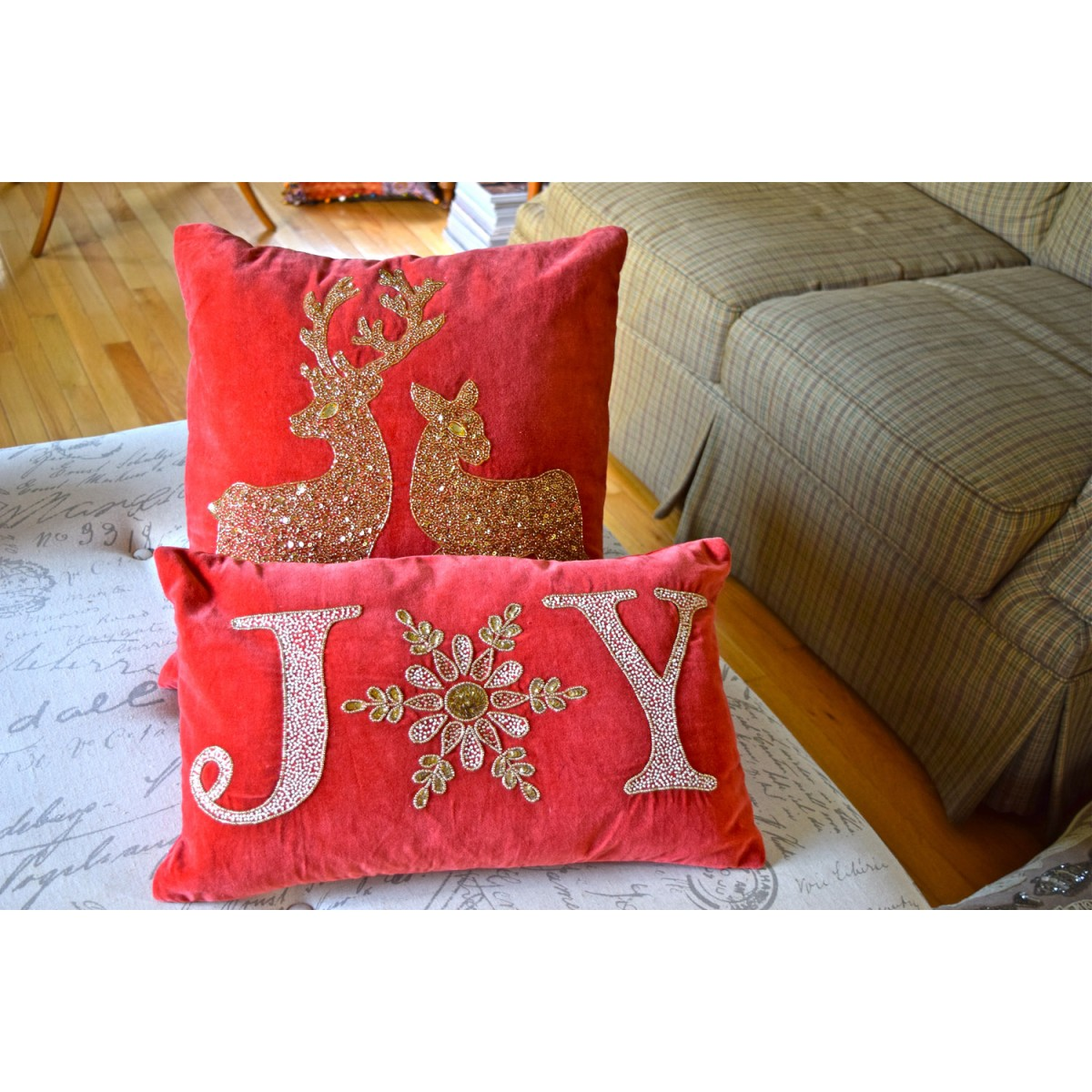 Joy Red Velvet Beaded Lumbar Pillow Red Velvet Lumbar